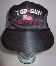 Vintage Top Gun Desert Storm Hat Cap - Nylon - Zipper Back - Braided Cord