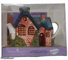 Thomas Kinkade 2005 Everett's Cottage Teapot Painter Of Light Blueberry Gift Set