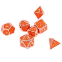 Metal Poly 7 Dices Zinc Alloy Role Gaming Dice D4 D6 D8 D10 D12 D20 -Orange