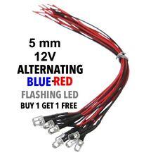 5mm 12v Alternating blue/red prewired blinking led (2pcs)