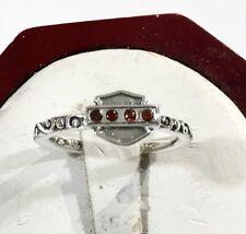 Sterling Silver 925 Harley-Davidson Ring With Garnets Bar & Shield 3.2 g. Sz 6