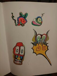 Flash Tattoo style Art Original Drawings signed on the back Paper size 8.5x11