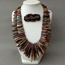 "20"" 2 Rows Multi Color Red Creek Jasper Top drilled Stick Necklace"