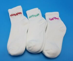 Athletic Socks Ebay Open 2017 White Ankle Length Embroidered Logo Unisex NEW