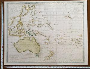 Large Old Antique Historical map Australia, Australasia 1830 1800's: Reprint