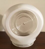 Art Deco Clear & White Glass Gas Station Sconce Light Fixture Globe Shade
