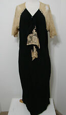 VINTAGE Dress Black Rayon Silk Ecru Hand Stitched Lace Bias Studio Stamped XL