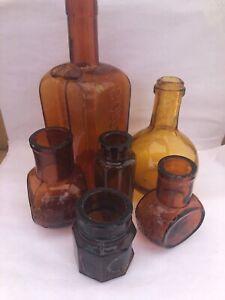 6 Old Amber Bottles. Antique Liqueur / Spirit / Medicine / Food Bottles