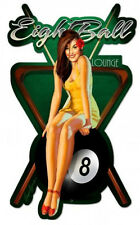 "Eight Ball Lounge Pin-Up Laser Cut  Metal Sign 24"" by 15"""