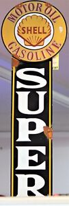 SUPER SHELL SINGLE SIDED RUSTIC HANGING METAL SIGN