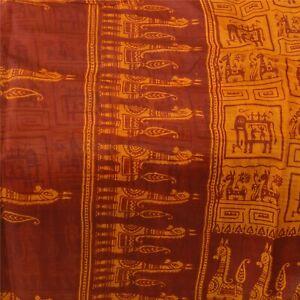 Sanskriti Vintage Yellow Sarees Pure Silk Printed Sari Craft Decor Soft Fabric