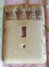 Wonderful Deluxe Switch Plate Cover Primitive Herbs in Flower Pots, Good Cond.