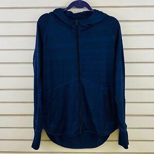 Womens L Athleta Baja UPF Jacket Navy Blue Hoodie Full Front Zip Activewear