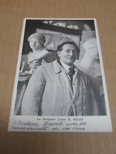 LOUIS H NICOT sculpteur carte postale avec deux lignes et signature autographe