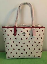 COACH $350 Reversible City Tote Purse - Red, Ladybug Print Brand New AUTHENTIC