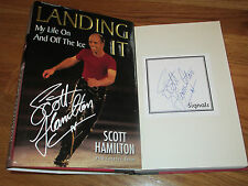 "Scott Hamilton signed ""Landing It"" 1999 1st Ed Book Coa Olympic Gold Medal Plate"