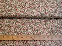 cotton Calico Flowers fabric tiny floral on cream beige background by the yard