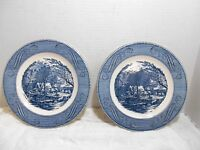 """Currier & Ives """"The Old Grist Mill"""" by Royal Porcelain China Dinner Plates x2"""