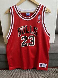 Vintage Rare Champion Chicago Bulls Michael Jordan 23 Red Jersey Authentic sz M