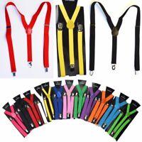 25mm Extra Wide Adjustable Elastic Mens/Womens Suspenders Clip-On Braces Trouser