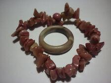 cristalloterapia BRACCIALE RODONITE + ANELLO braccialetto cristallo fatto a mano