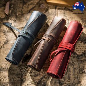 Retro Vintage Roll Up Pencil Case Cowhide Leather Wrap Pen Bag Storage Holder