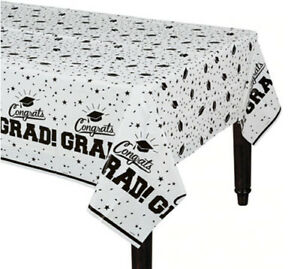 """GRADUATION Party WHITE plastic TABLE COVER 1 tablecloth school colors 54""""x84"""""""