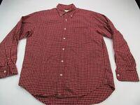 Men's J. Crew Plaid Flannel Long Sleeve Shirt Adult Medium Red Button Up