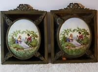 Antique Framed Pair of Signed German Victorian Hand Painted Porcelain Plaques