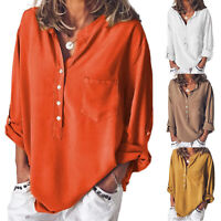 Women's Fashion V Neck Casual Loose Baggy Long Sleeve Blouse T Shirt Tops Summer