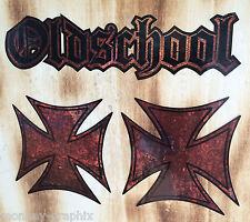 3x Rost / Rusty Oldschool Aufkleber / Sticker Ratte Ratlook Eisernes Kreuz