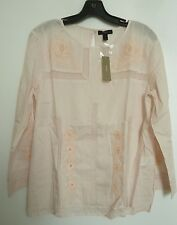 NWT JCrew Cotton Embroidered Lace Blouse Top Light Blush Pink 8