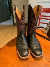 Lucchese Smooth Ostrich Leather Roper Cowboy Boots Size 9D