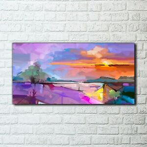 Canvas Print Picture Decor Abstract painting landscape trees purple sky 100x50