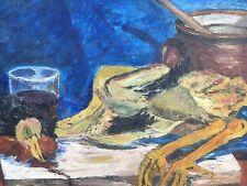 Belle Peinture nature morte coq Poule Huile Sur Panneau Hsp  Recette Restaurant