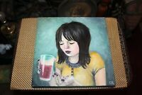 Original Outsider Art Painting Girl Popping Pills Signed Carol Roque 2007
