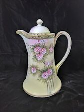 Vintage Hand Painted Nippon Floral Design Tapered Form Lidded Chocolate Pot
