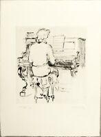 """Maxime JUAN    """"""""La pianiste """"""""  gravure originale signée et numérotée"""