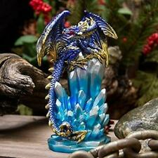Fantasy Guarding Dragon on Crystal Gemstone Rock Figurine Statue Home Decor