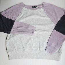 Women's Lightweight Pullover Sweatshirt Small Crewneck Gray Purple Raglan NWT