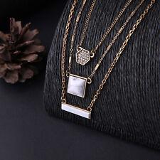 N978 Forever 21 Multi 3 Layers Marble Gemstone Fashion Collar Bridal Necklace UK