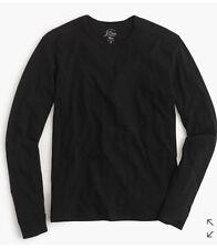 J Crew Women's Long Sleeve Textured Cotton T-Shirt, Black, XS