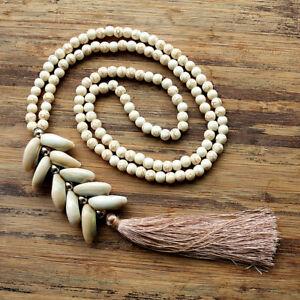 Handmade Natural Shell Beads Mermaid Tassel Bohemian Gypsy Turkish Long Necklace