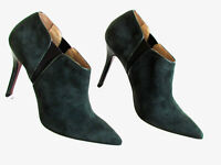 Women's Shoes Ankle Boots Designer ENRICO LUGANI Green Suede High Heel Boots 9M