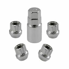 Chrome Open End Locking Lug Kit 14x1.5 Threads | 4 Lugs 1 Key | Wheel Locks