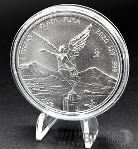2020 Mexico 2 oz Libertad Silver Coin BU (In Capsule) LOW Mintage