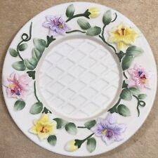 Yankee Candle Ceramic Large Jar Candle Tray Underplate Flowers Vines Leaves Buds