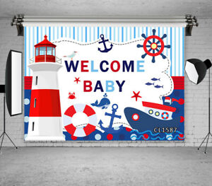 Welcome Baby Shower Birthday Lighthouse Backdrop 7x5ft Vinyl Photo Background LB