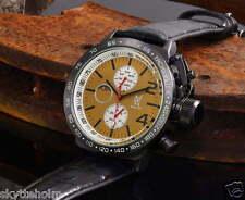 El rey obra reloj, negro pulsera de cuero, multifunción, día-fecha, Konigswerk, nuevo