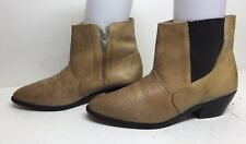 VTG MENS PLAYBOY CASUAL OSTRICH PRINT LEATHER LIGHT BROWN BOOTS SIZE 8 D